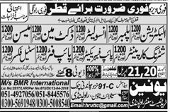 Electricians, Plumbers, Insolators, Mason Job Opportunity