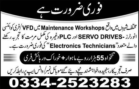Electronics Technicians Job Opportunity
