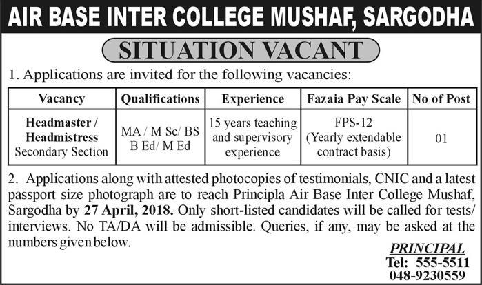 Air Base Inter College Mushaf Sargodha Jobs