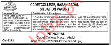 Cadet College Hasan Abdal CCH Jobs 2018 for Head Clerk