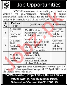WWF Pakistan Jobs 2018 for Supervisor & Field Facilitator