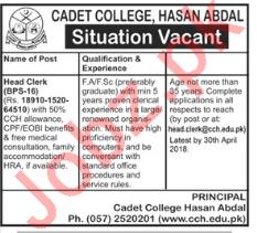 Cadet College Hasan Abdal Jobs 2018 for Head Clerk