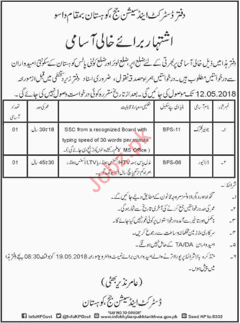 District & Session Judge Kohistan Dasu Jobs Clerk & Driver