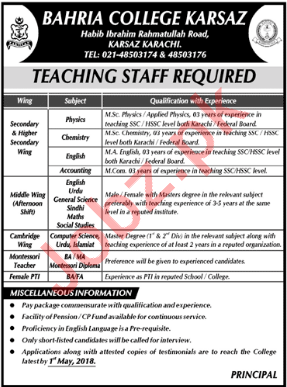 Bahria College Karsaz Karachi Jobs 2018 Teachers & Lecturers