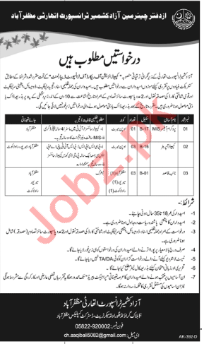 Transport Department AJK Jobs 2018 for Computer Operator