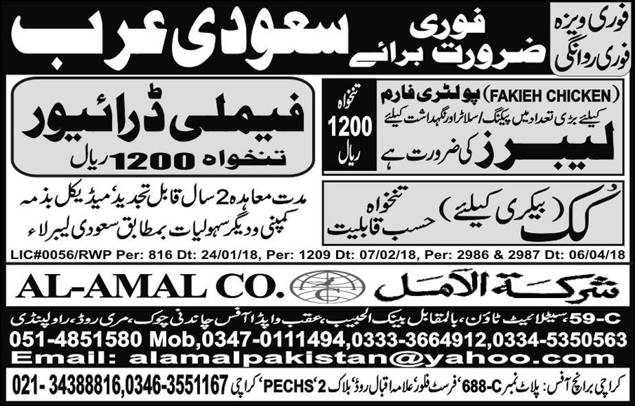 Labors, Cooks and Family Drivers Job Opportunity