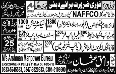 Fire Alaram Technicians, Pipe Fitter Charge Hand Wanted