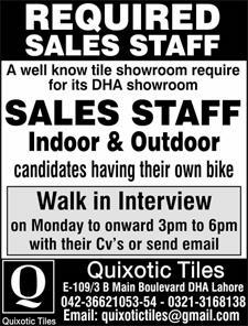 Sales Staff Indoor / Out Door Job in Quixotic Tiles