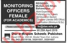 Dar e Arqam Schools Lahore Jobs 2018 for Monitoring Officer