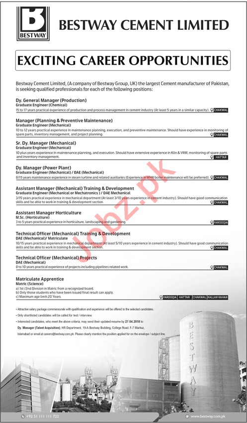 Bestway Cement Limited Islamabad Jobs 2018