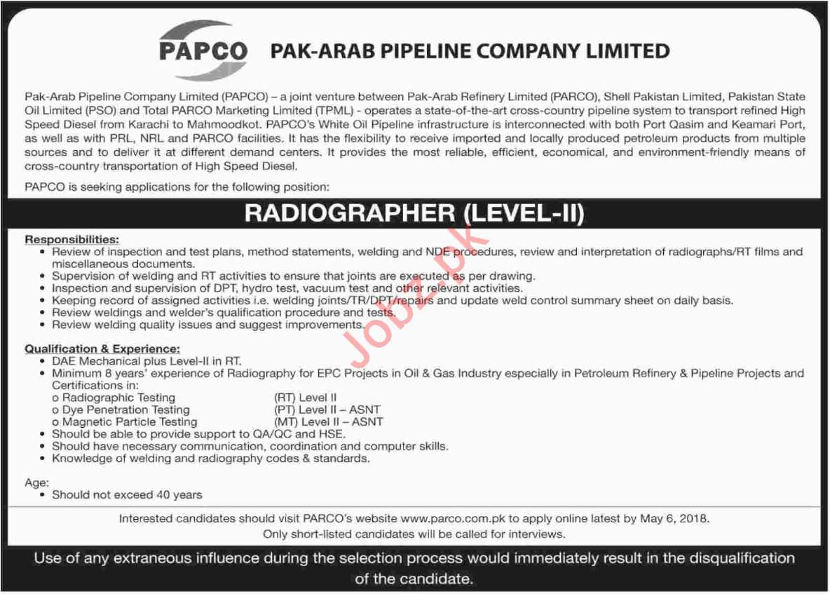 PAPCO Pak Arab Pipeline Company Limited Jobs 2018