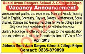 Quaid Azam Rangers School & College Khipro Teachers Jobs