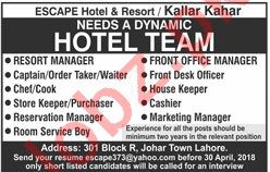 Escape Hotel & Resort Kallar Kahar Jobs 2018