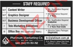 Content Writer, Graphic Designer & Marketing Executive Jobs