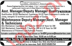 Master Textile Mills Lahore Jobs 2018 for Managers 2019 Job