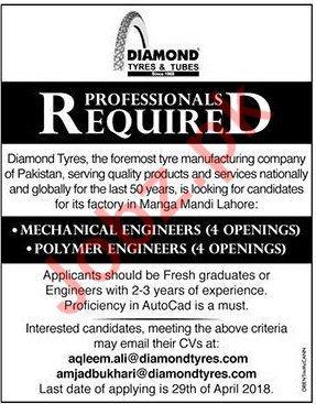 Diamond Tyres & Tubes Mechanical Engineers Jobs 2018