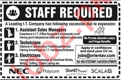 Assistant Sales Manager & Technicians Jobs 2018