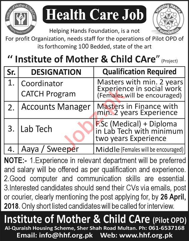 Institute Of Mother  Child Care Accounts Manager Jobs