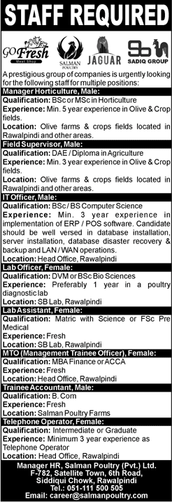 Salman Poultry Pvt Ltd Manager Horticulture Jobs