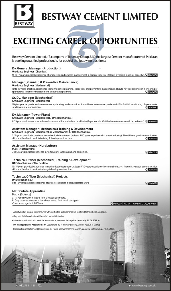 Bestway Cement Limited Chakwal.Management Jobs