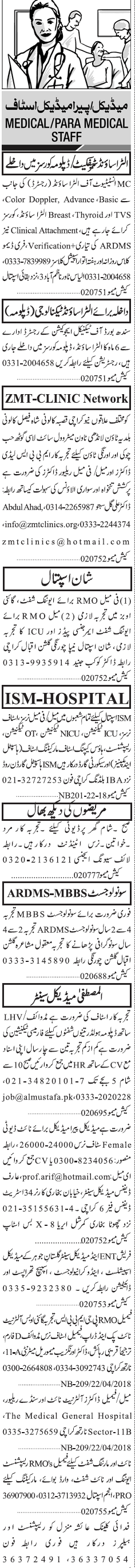 MBBS Lady Doctors, Resident Medical Officers Wanted