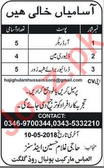 Order Booker, Delivery Man & HTV Driver Jobs 2018