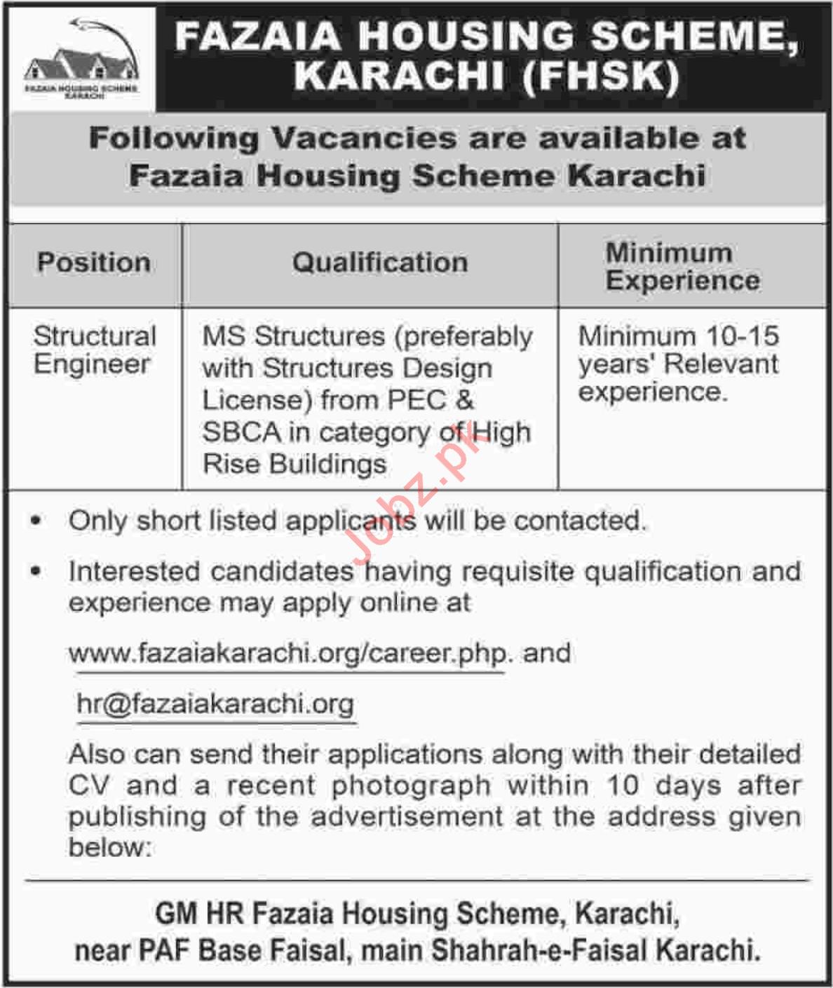 Fazaia Housing Scheme Karachi FHSK Jobs 2018 for Engineers