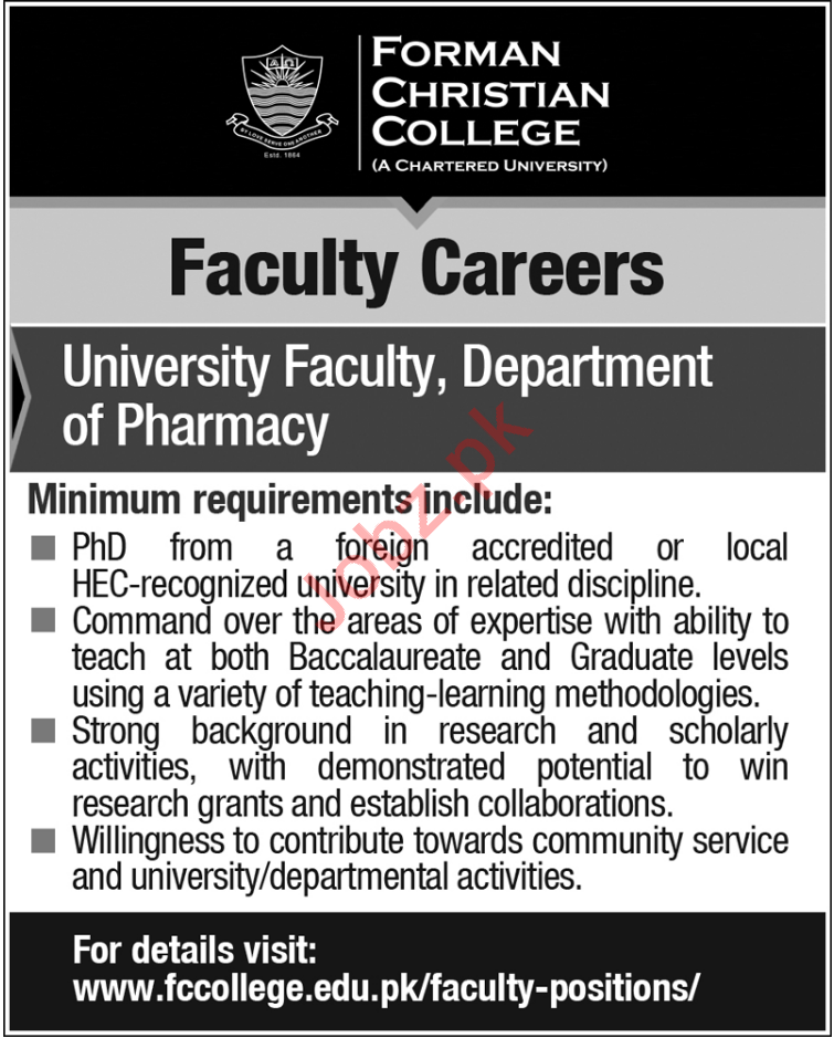 Forman Christian College FCC Lahore Jobs 2018 for Professors