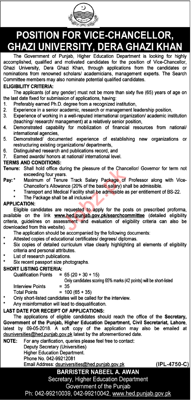 Ghazi University Dera Ghazi Khan Jobs 2018 Vice Chancellor