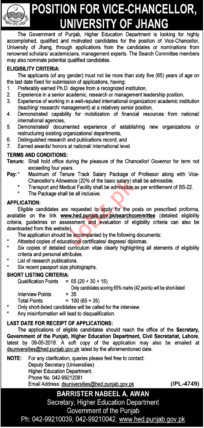 University of Jhang Jobs 2018 for Vice Chancellor