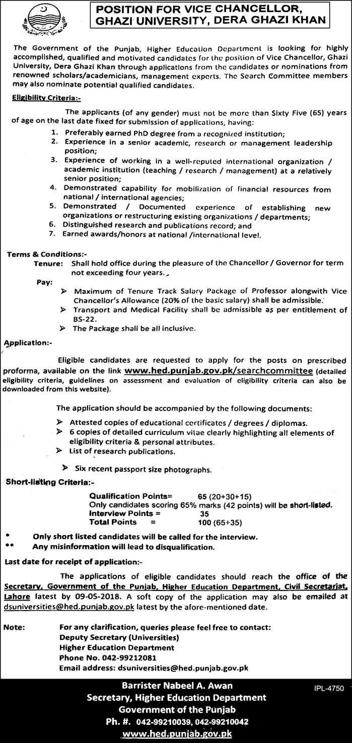 Ghazi University D G Khan Vice Chancellor VC Jobs