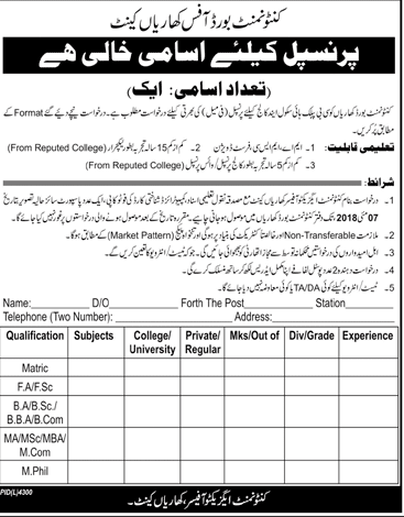 Cantonment Board Office Kharian Cant Principal Jobs
