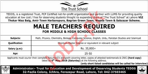 The Trust School Lahore Jobs 2018 for Male Teachers