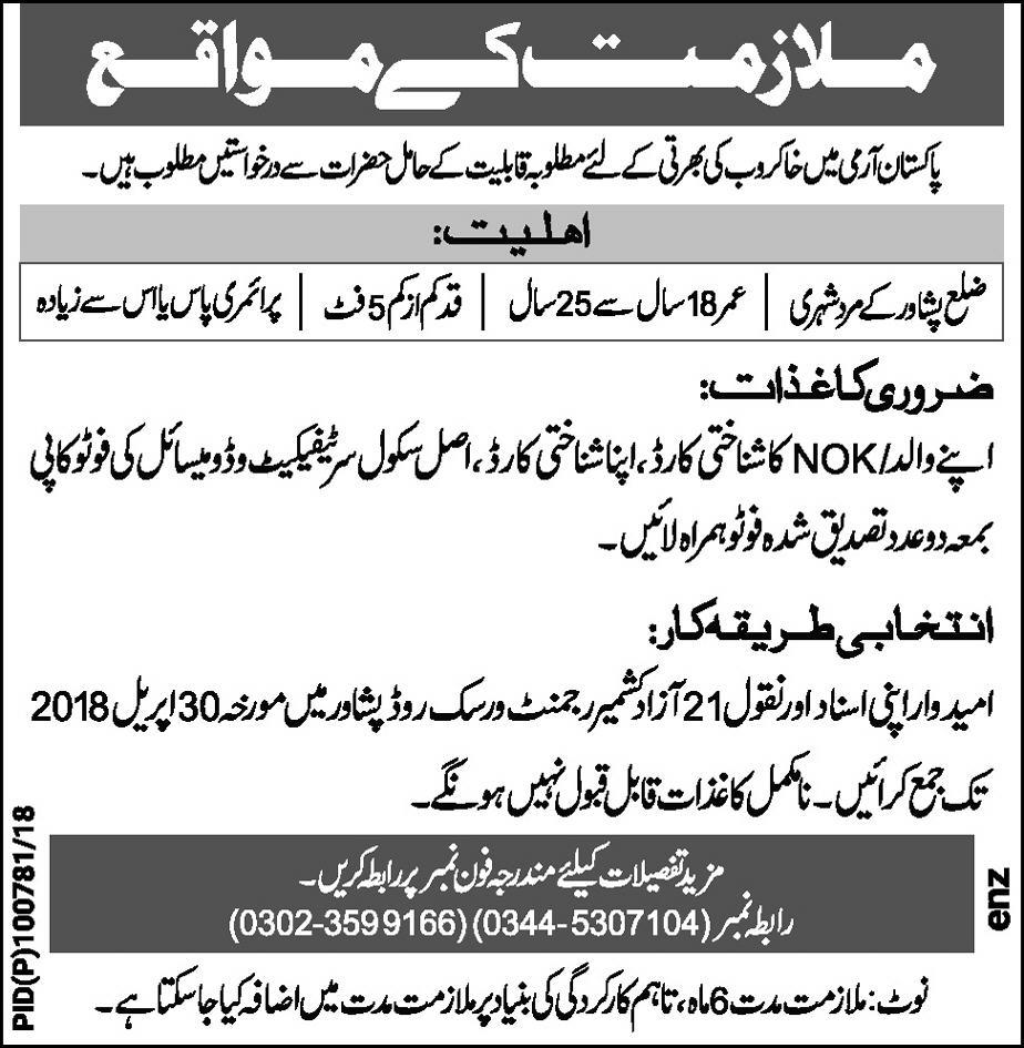 Pakistan Army Recruitment of  Sweepers