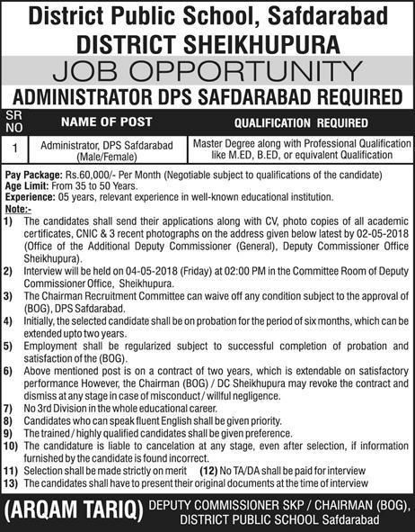District Public School Safdarabad Management Jobs