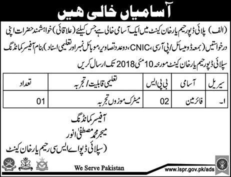 Pakistan Army Supply Depot ASC Firemen Jobs