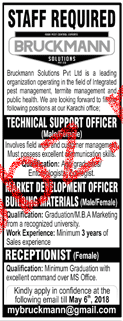 Bruckmann Solutions Pvt Ltd Technical  Support Officers Jobs