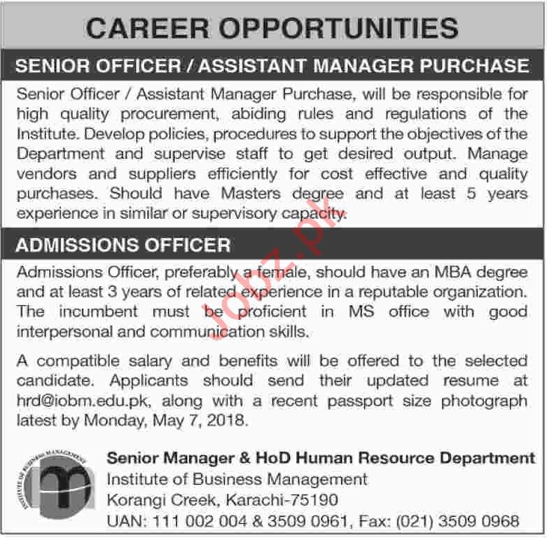 Institute of Business Management Karachi Jobs 2018