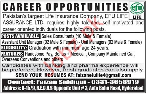 Efu Life Insurance Company Jobs 2018 in Hyderabad