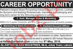 Al Fattah Glass Industries Lahore Jobs 2018 for Managers