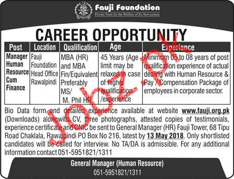 Fauji Foundation Manager Human Resource Cum Finance Jobs