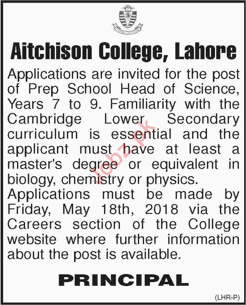 Aitchison College Lahore Jobs 2018 for Teachers