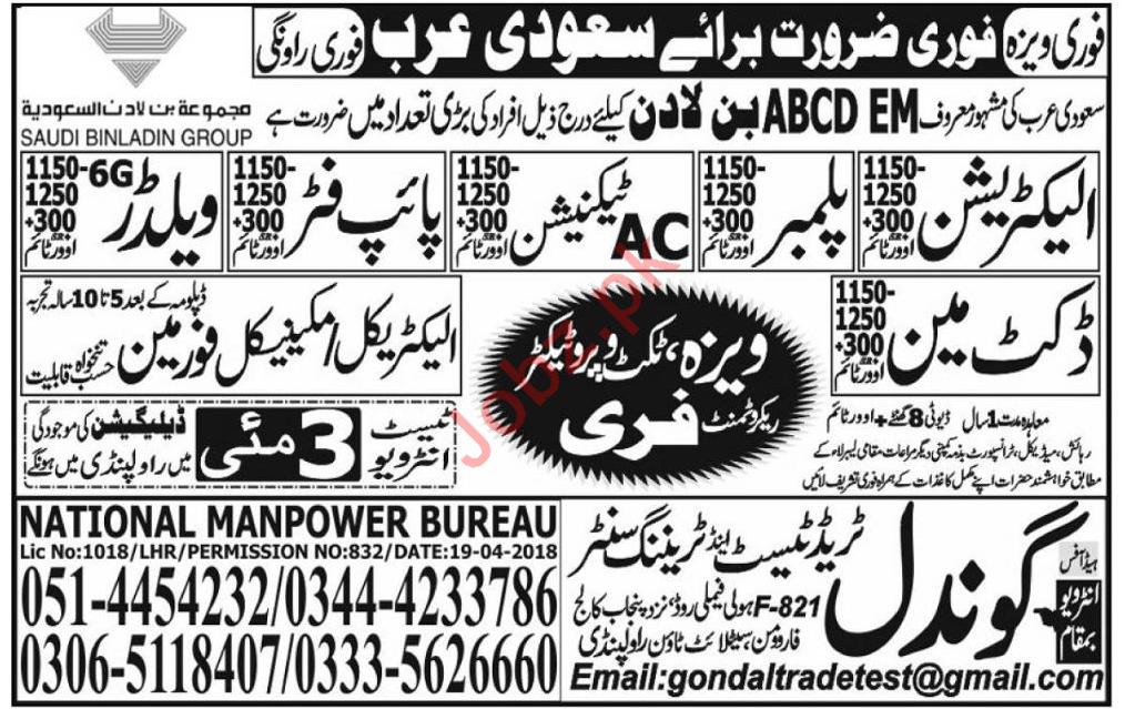 Electrician Plumber Jobs in Saudi Arabia