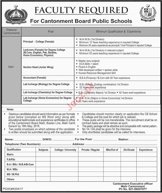 Cantonment Board Public Schools Teaching Jobs 2018 In Malir