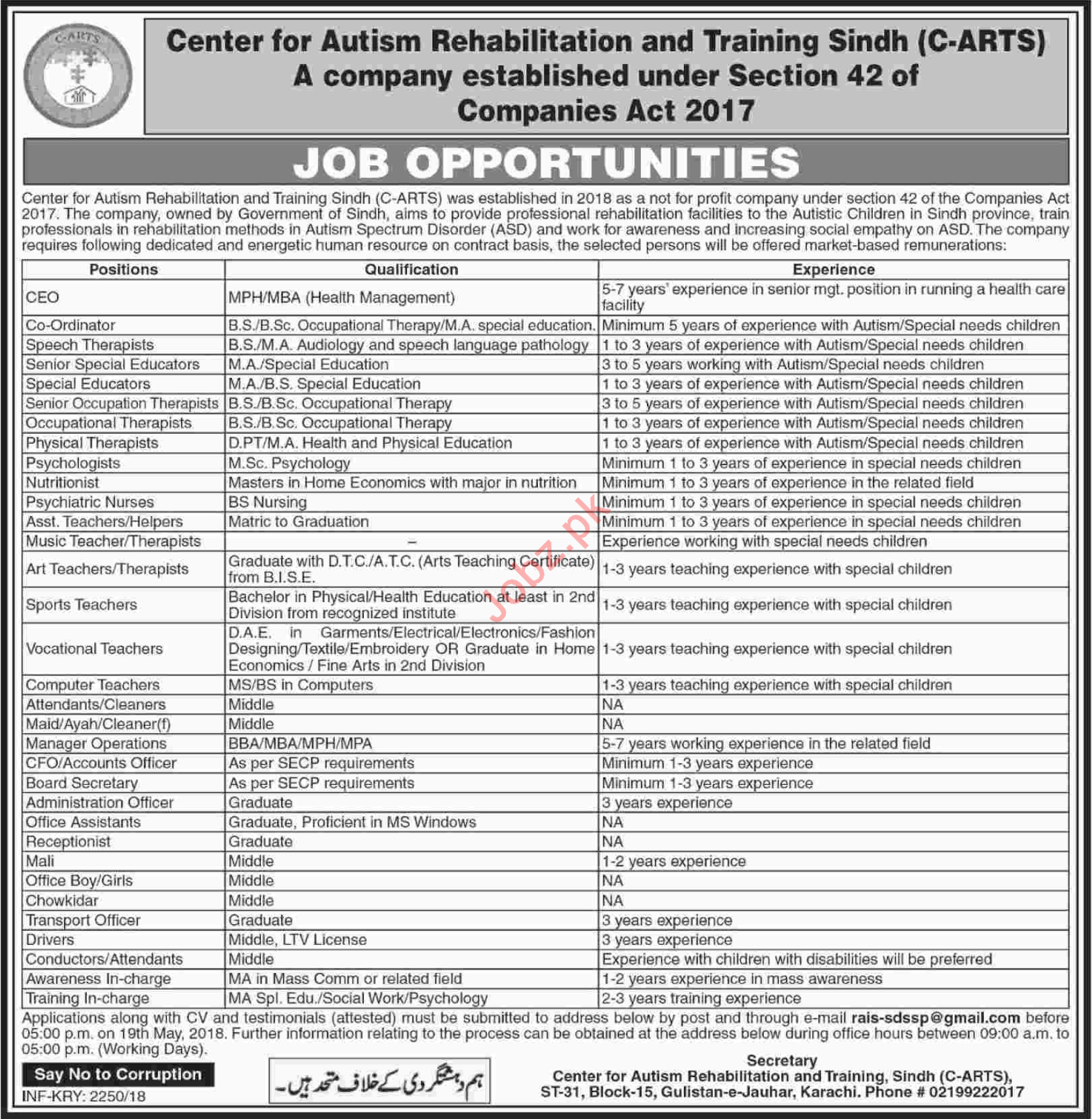 Center for Autism Rehab and Training Sindh C ARTS Jobs 2018