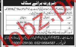 572 MSBE ME Jirar Garrison Rawalpindi Mess Waiter Jobs