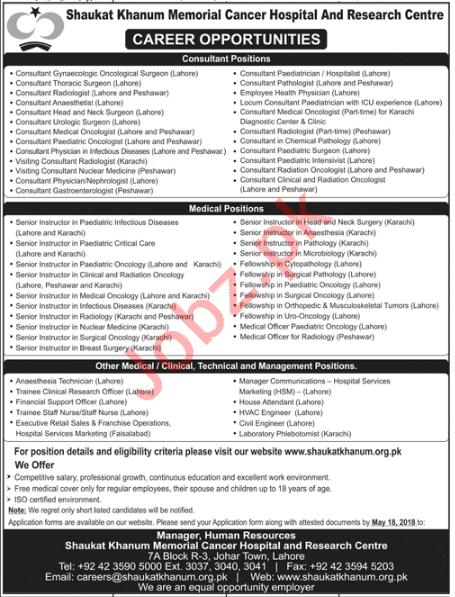 Shaukat Khanum Memorial Cancer Hospital Research Centre Jobs
