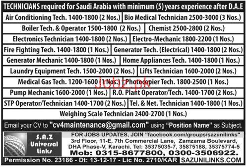 AC Technicians, Electronic Technicians Job Opportunity