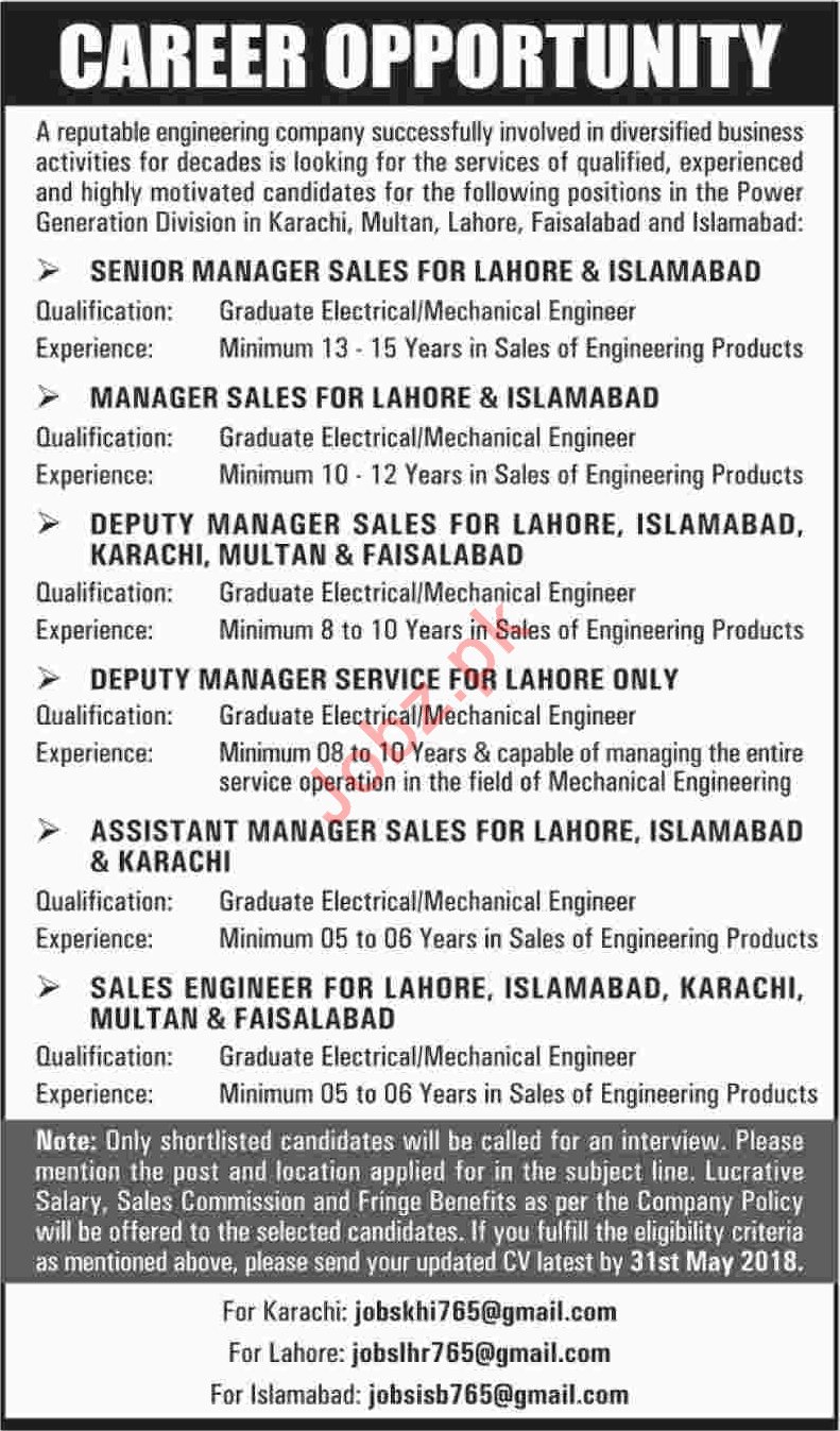 Senior Manager Sales Wanted