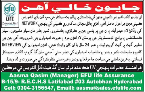 Sales Consultant for EFU Life Insurance
